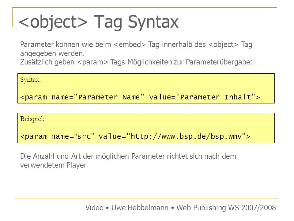 <object> Tag Syntax