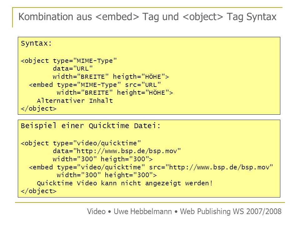 Kombination aus <embed> Tag und <object> Tag Syntax