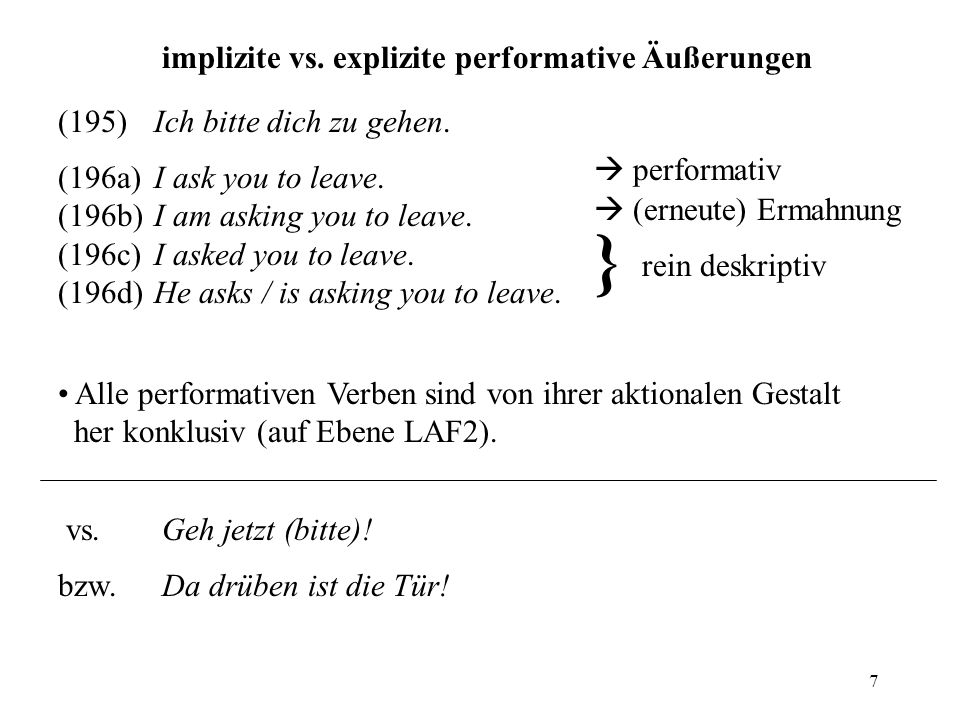 } implizite vs. explizite performative Äußerungen