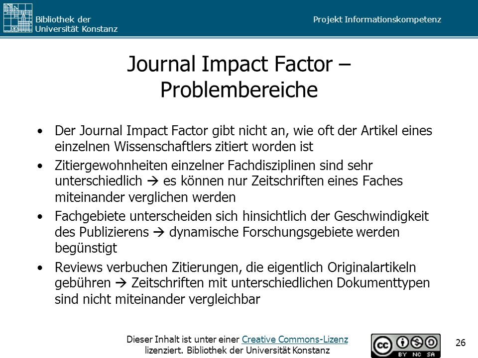 Journal Impact Factor – Problembereiche