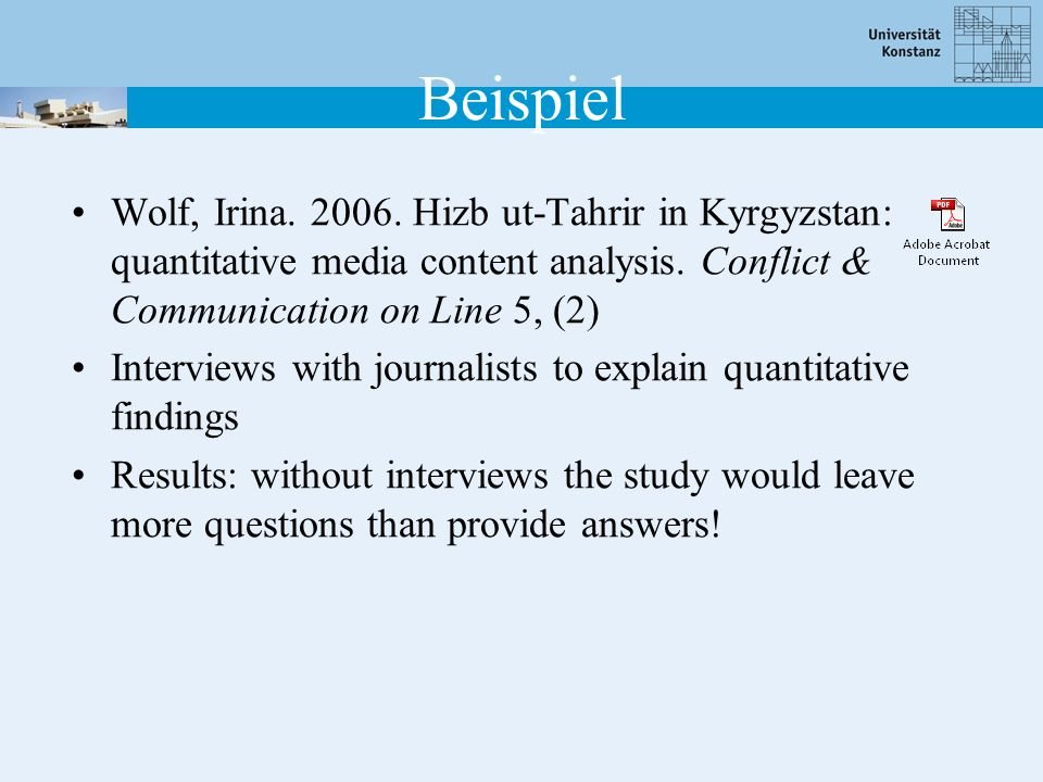 Beispiel Wolf, Irina. 2006. Hizb ut-Tahrir in Kyrgyzstan: quantitative media content analysis. Conflict & Communication on Line 5, (2)