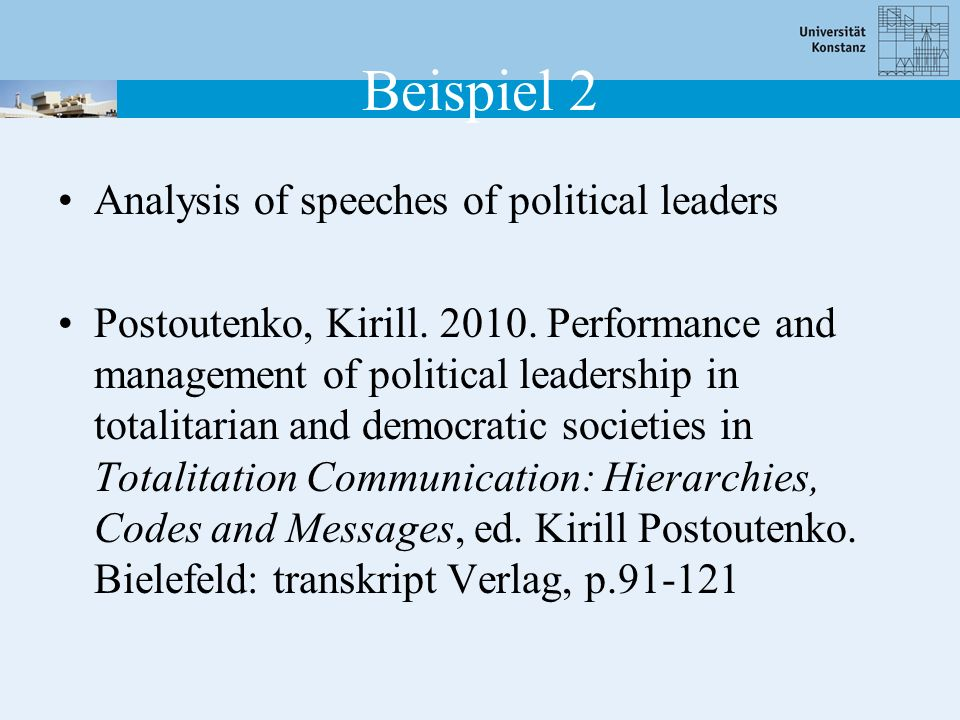 Beispiel 2 Analysis of speeches of political leaders