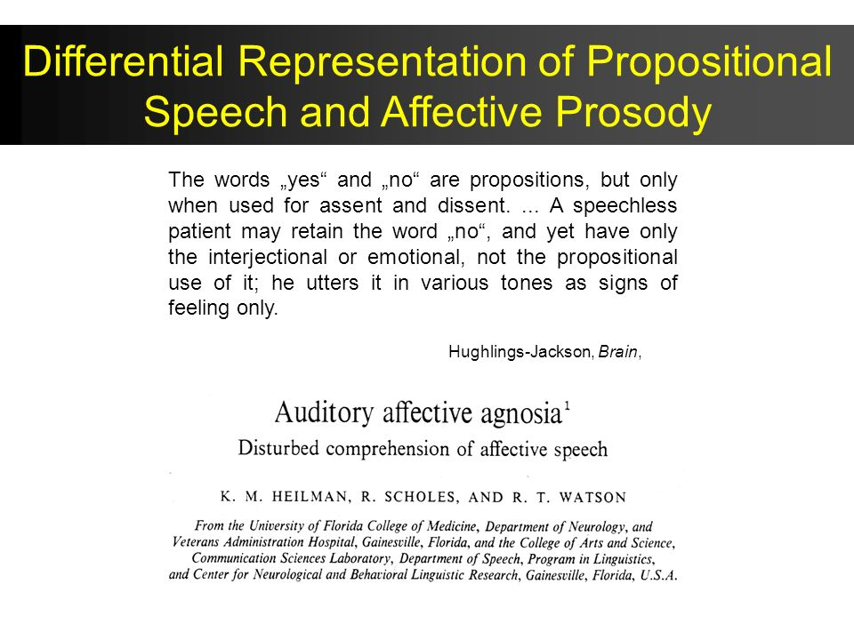 Differential Representation of Propositional Speech and Affective Prosody