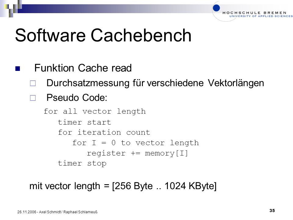 Software Cachebench for all vector length Funktion Cache read