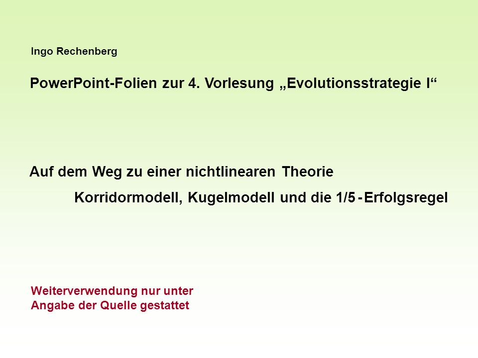 "PowerPoint-Folien zur 4. Vorlesung ""Evolutionsstrategie I"