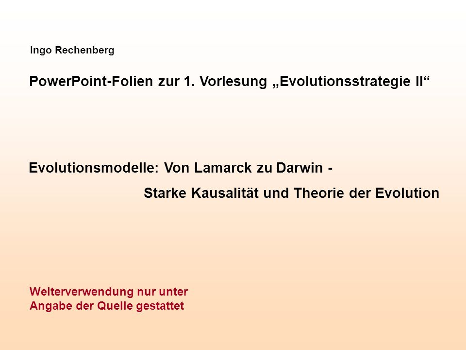 "PowerPoint-Folien zur 1. Vorlesung ""Evolutionsstrategie II"