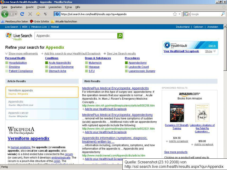 Quelle: Screenshot (23. 10. 2008) von http://ssl. search. live
