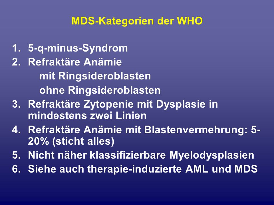 MDS-Kategorien der WHO