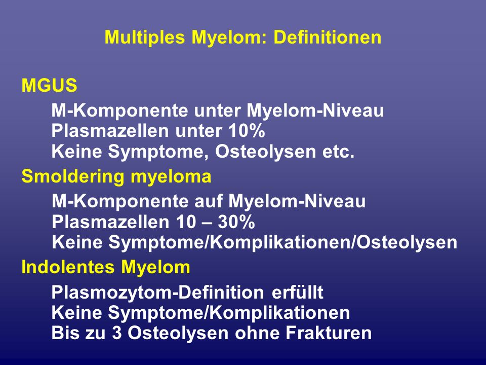 Multiples Myelom: Definitionen