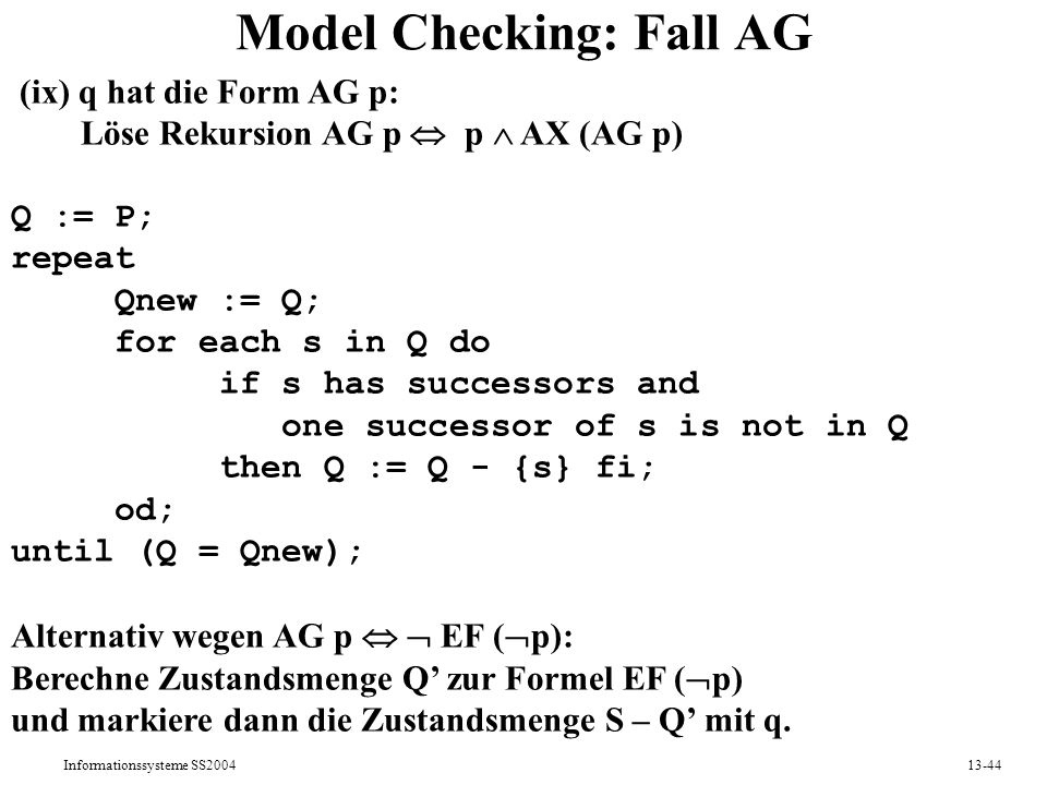 Model Checking: Fall AG