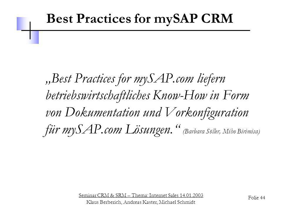 Best Practices for mySAP CRM
