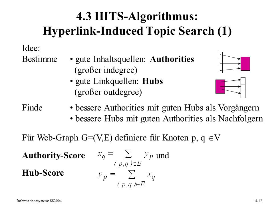 4.3 HITS-Algorithmus: Hyperlink-Induced Topic Search (1)
