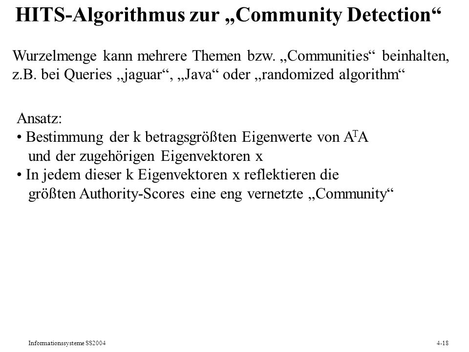 "HITS-Algorithmus zur ""Community Detection"