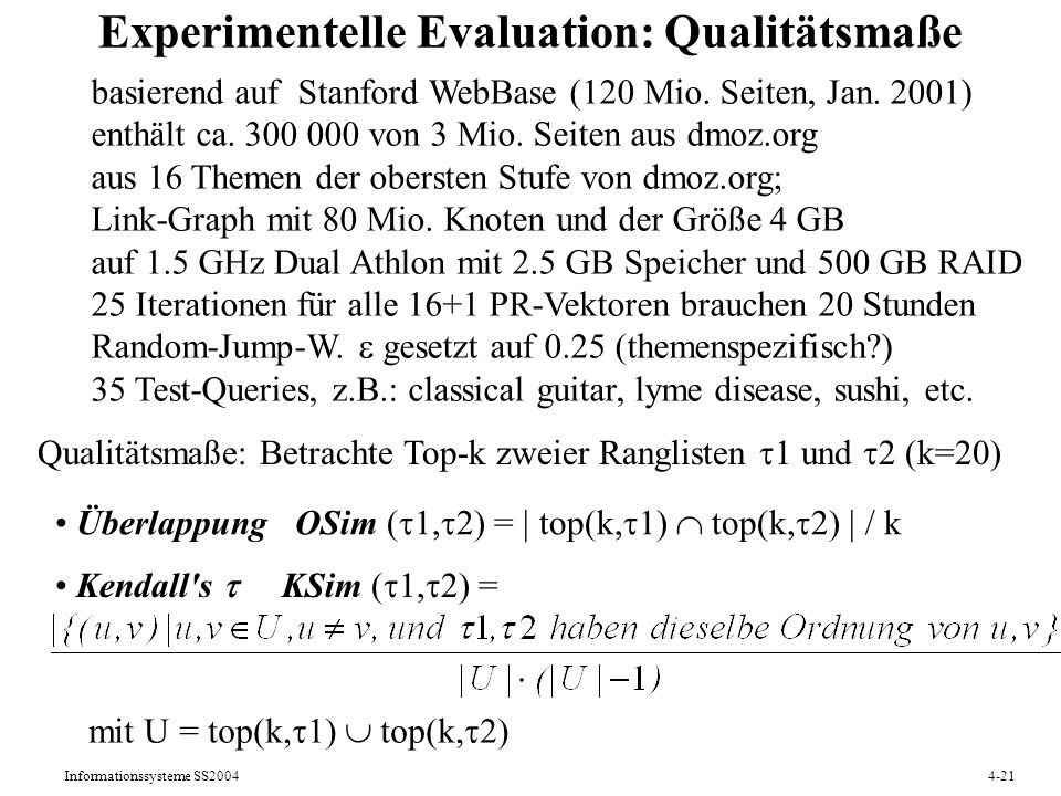 Experimentelle Evaluation: Qualitätsmaße