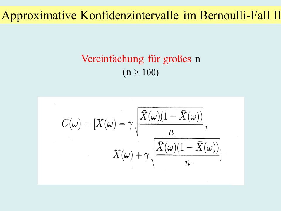 Approximative Konfidenzintervalle im Bernoulli-Fall II
