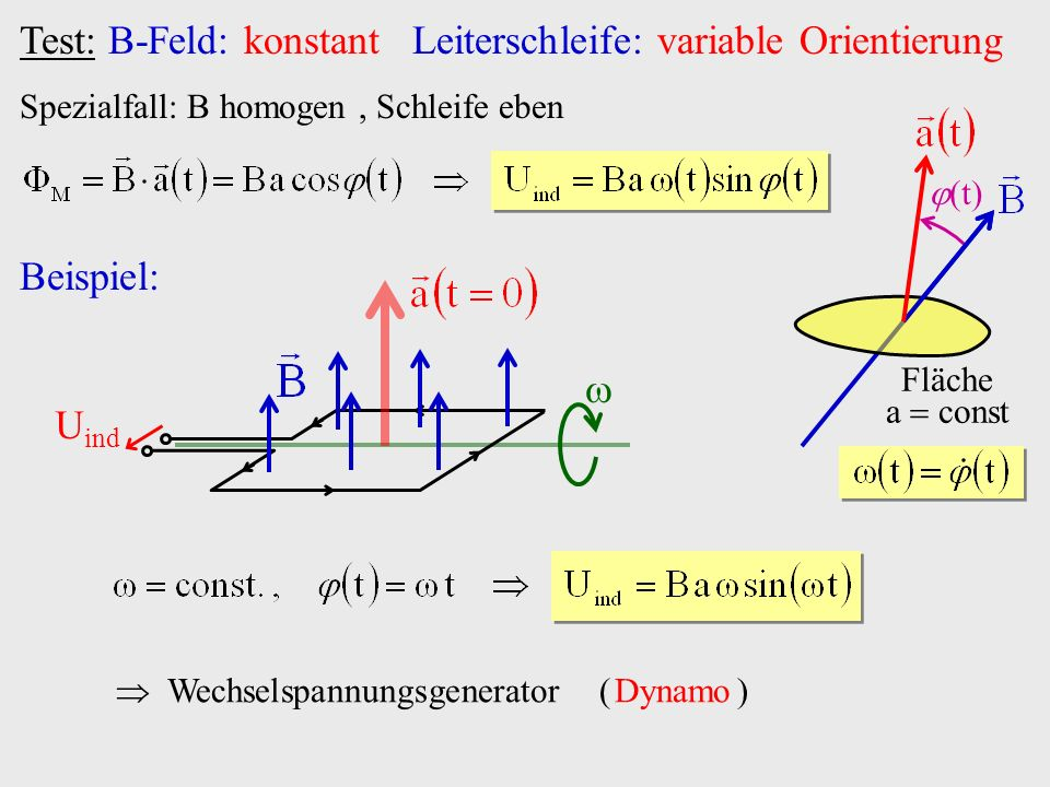 Test: B-Feld: konstant Leiterschleife: variable Orientierung