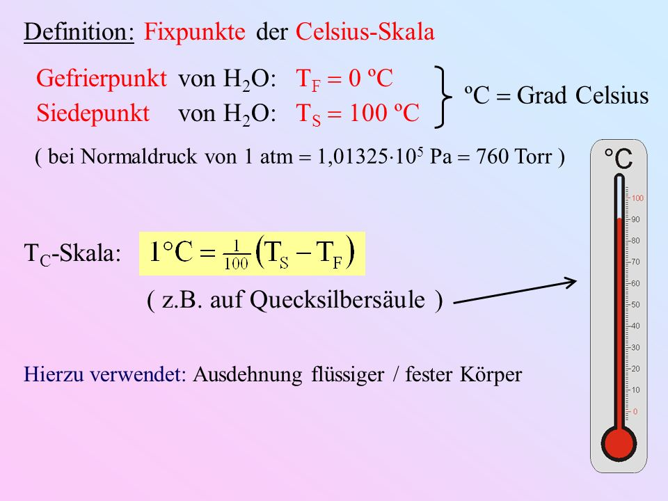 Definition: Fixpunkte der Celsius-Skala