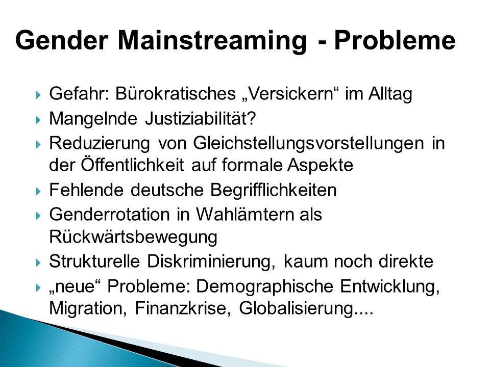 Gender Mainstreaming - Probleme