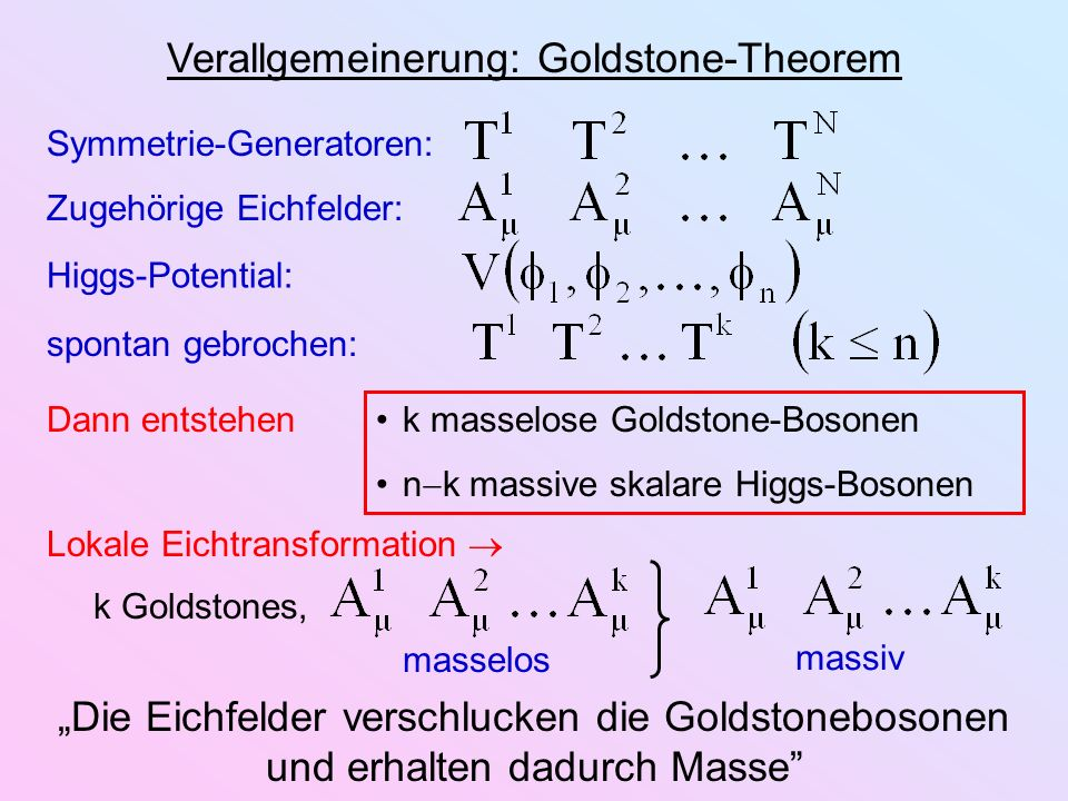 Verallgemeinerung: Goldstone-Theorem