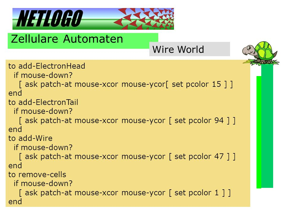 Zellulare Automaten Wire World to add-ElectronHead if mouse-down