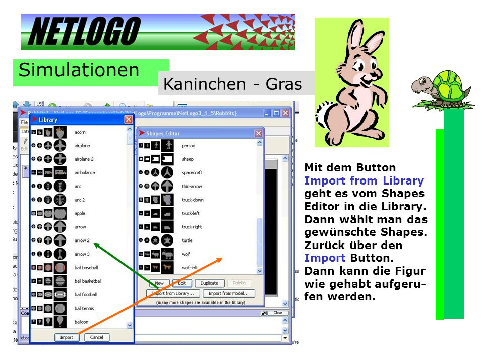 Simulationen Kaninchen - Gras Mit dem Button Import from Library