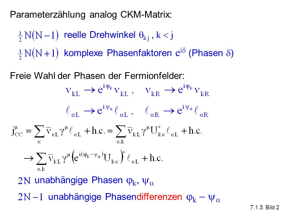 Parameterzählung analog CKM-Matrix: