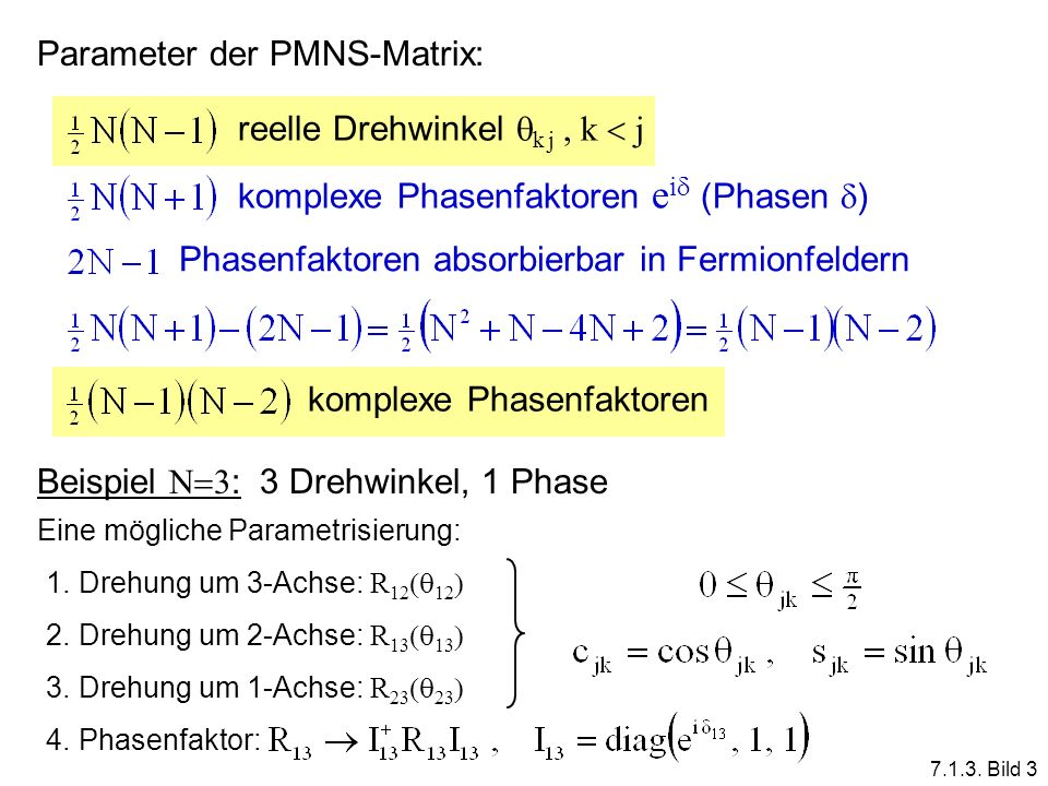 Parameter der PMNS-Matrix:
