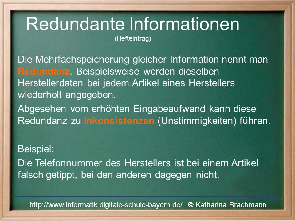 Redundante Informationen (Hefteintrag)