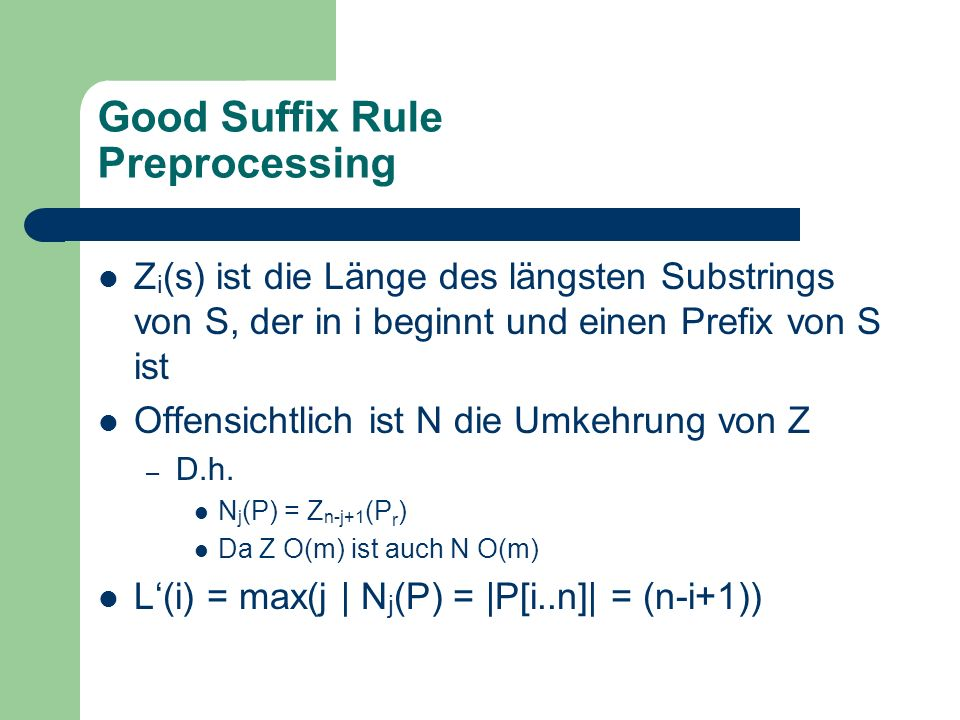 Good Suffix Rule Preprocessing