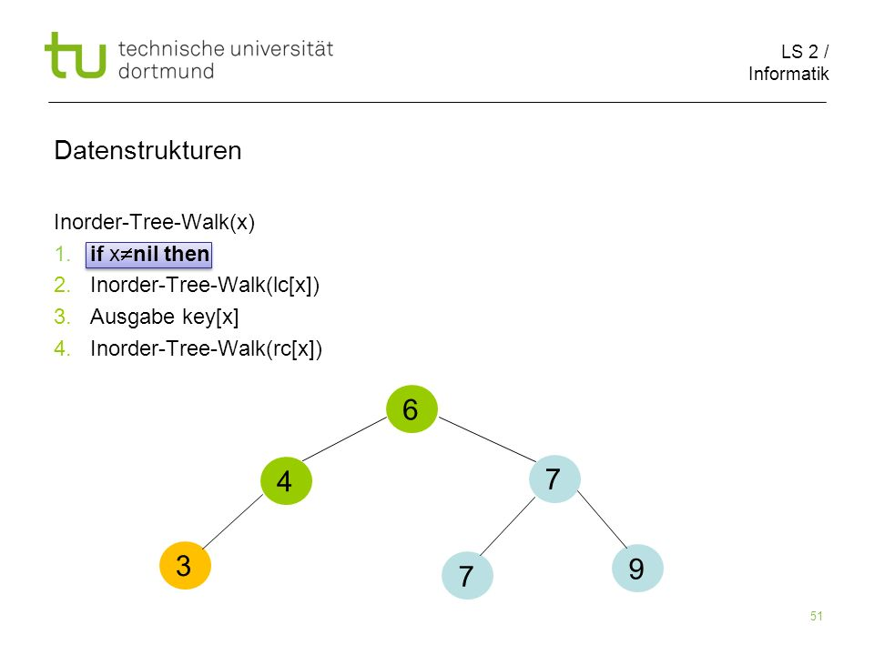 Datenstrukturen Inorder-Tree-Walk(x) 1. if xnil then