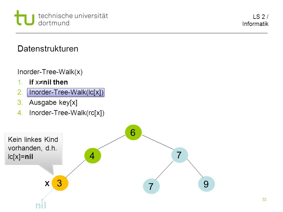 6 4 7 x x nil Datenstrukturen Inorder-Tree-Walk(x)