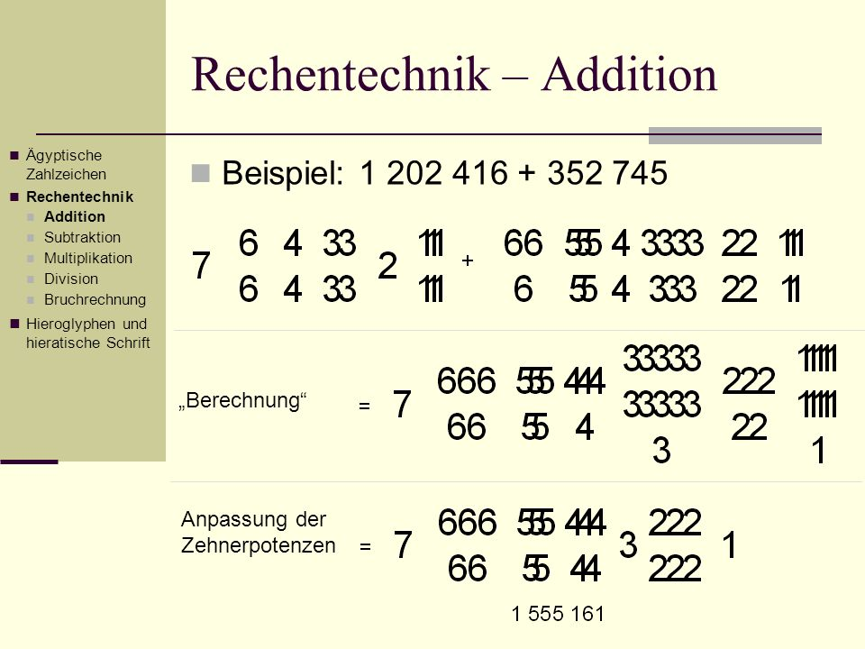 Rechentechnik – Addition