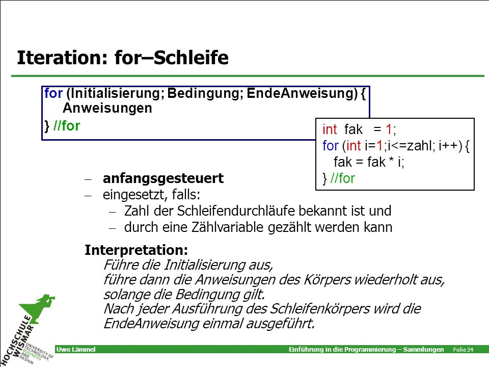 Iteration: for–Schleife