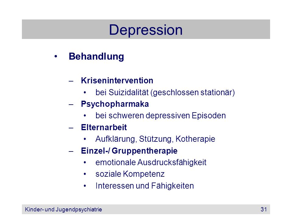 Depression Behandlung Krisenintervention