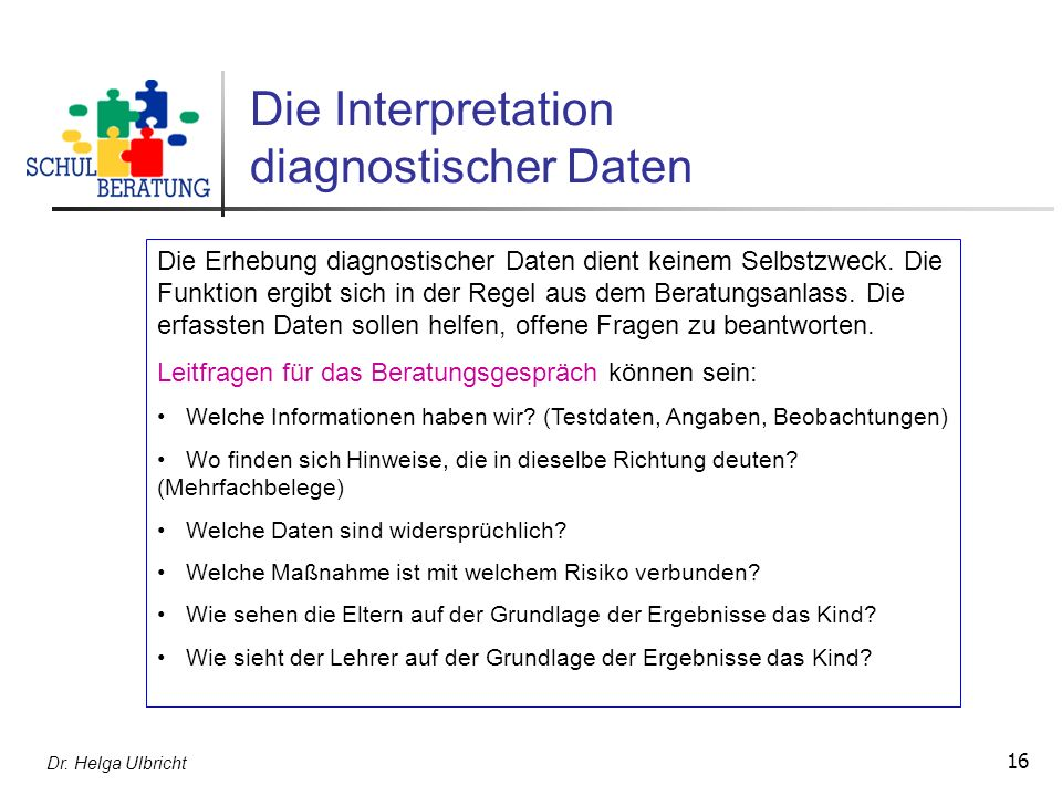 Die Interpretation diagnostischer Daten