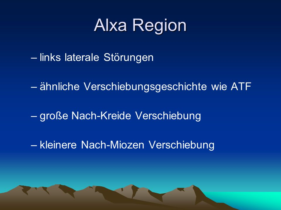 Alxa Region links laterale Störungen