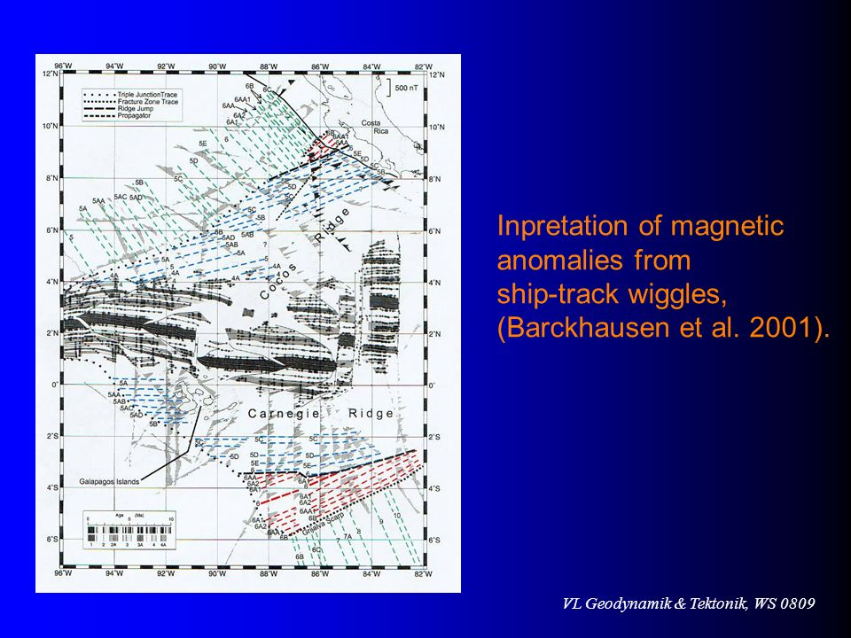 Inpretation of magnetic anomalies from ship-track wiggles, (Barckhausen et al. 2001).