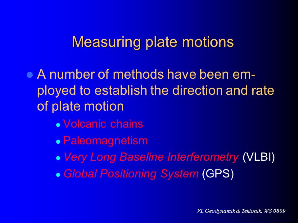 Measuring plate motions