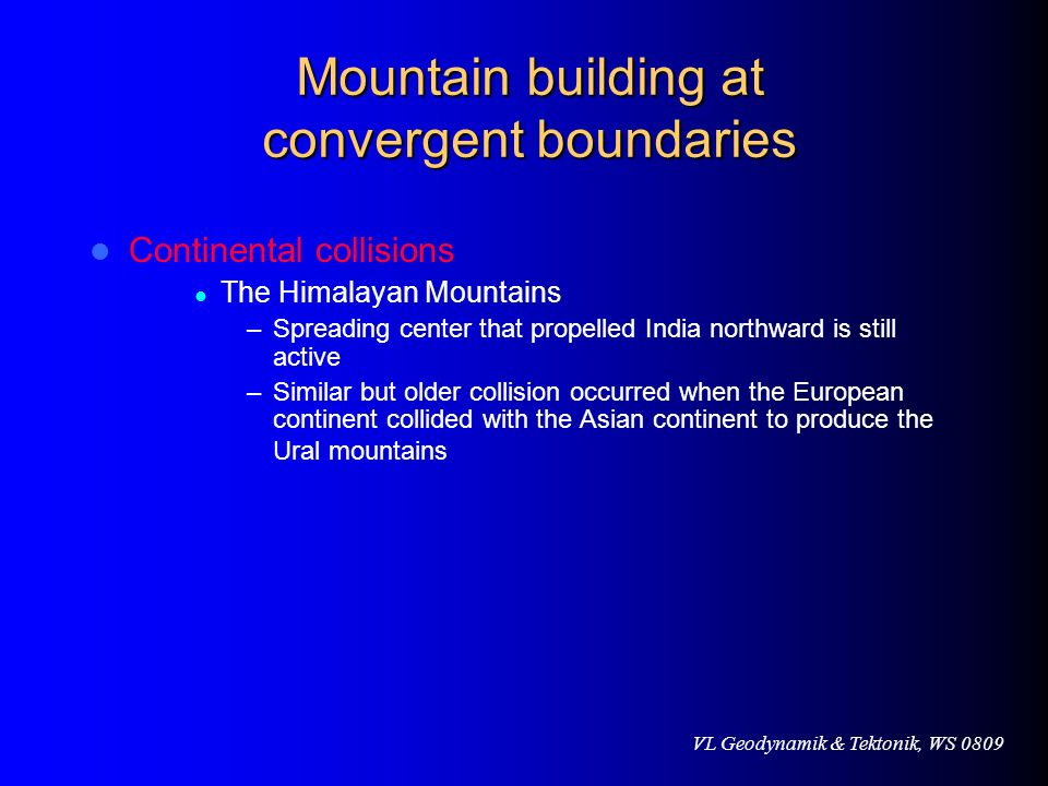 Mountain building at convergent boundaries