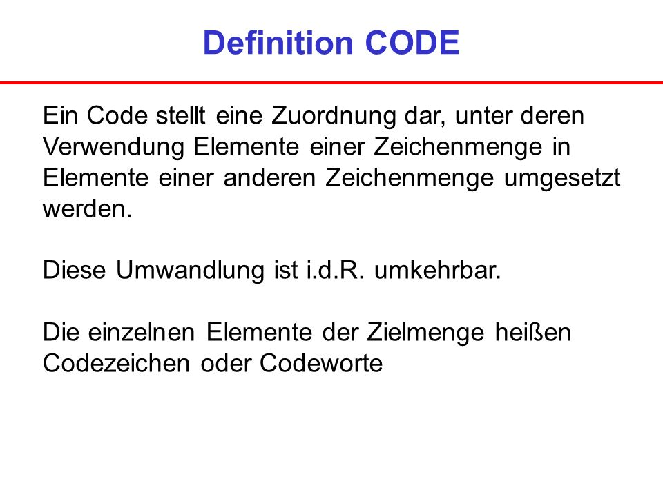 Definition CODE