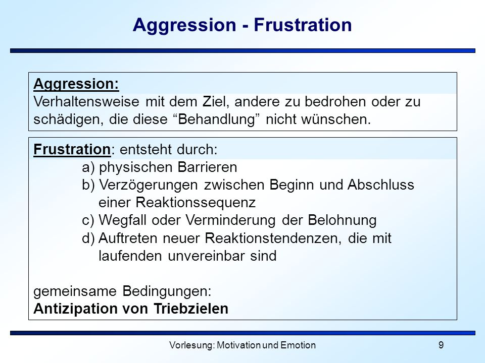 Aggression - Frustration
