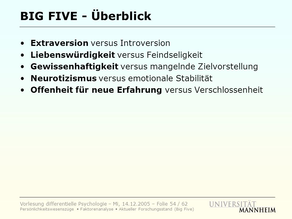 BIG FIVE - Überblick • Extraversion versus Introversion