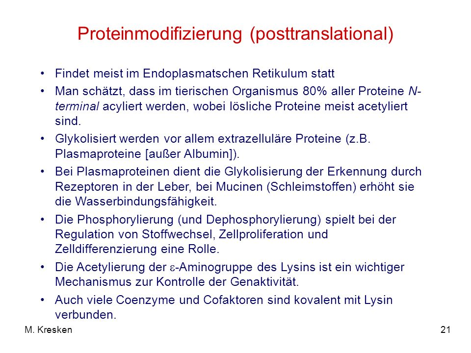 Proteinmodifizierung (posttranslational)