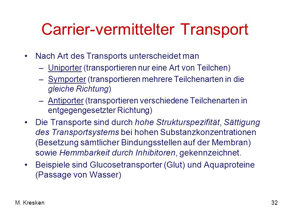 Carrier-vermittelter Transport