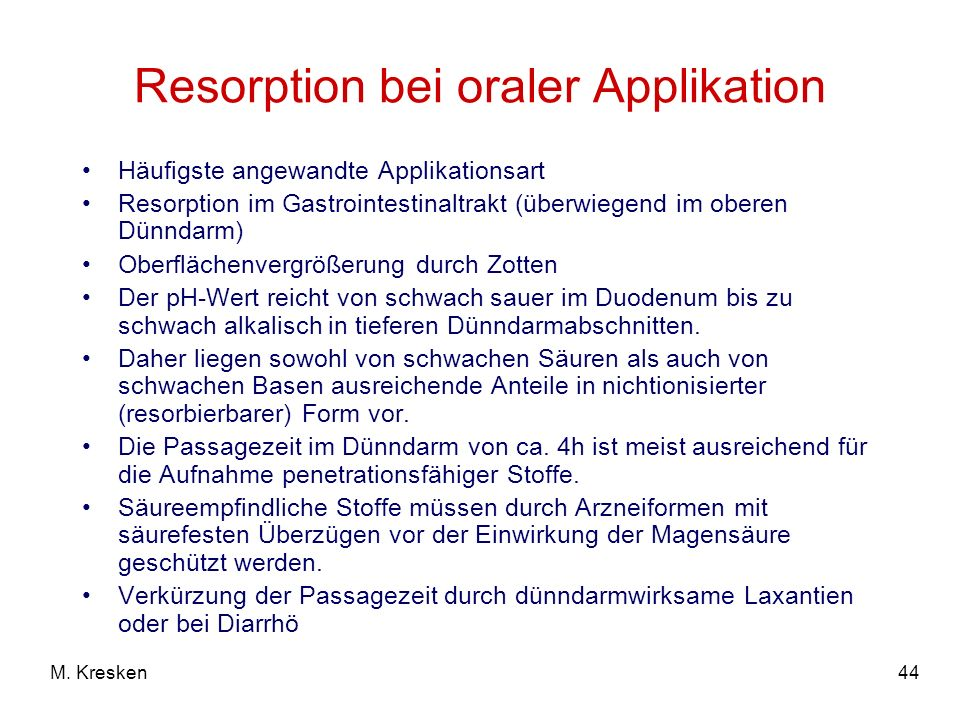 Resorption bei oraler Applikation