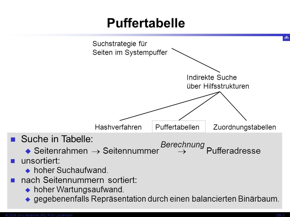 Puffertabelle Suche in Tabelle: