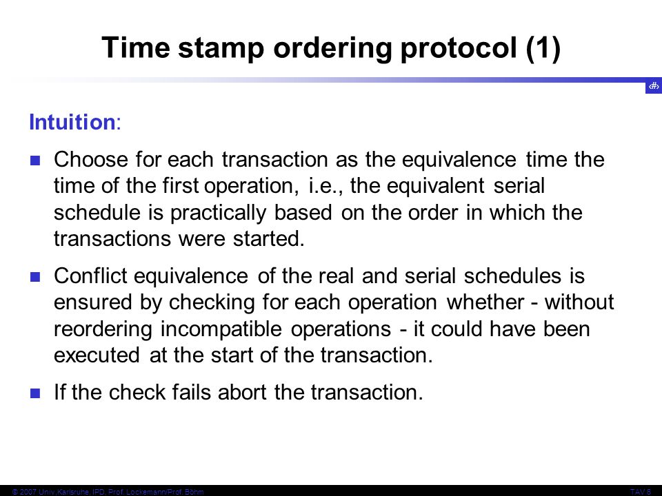 Time stamp ordering protocol (1)