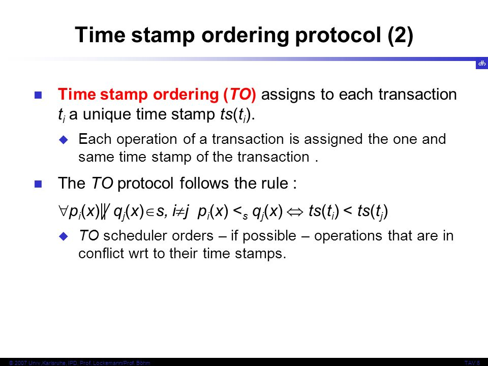 Time stamp ordering protocol (2)