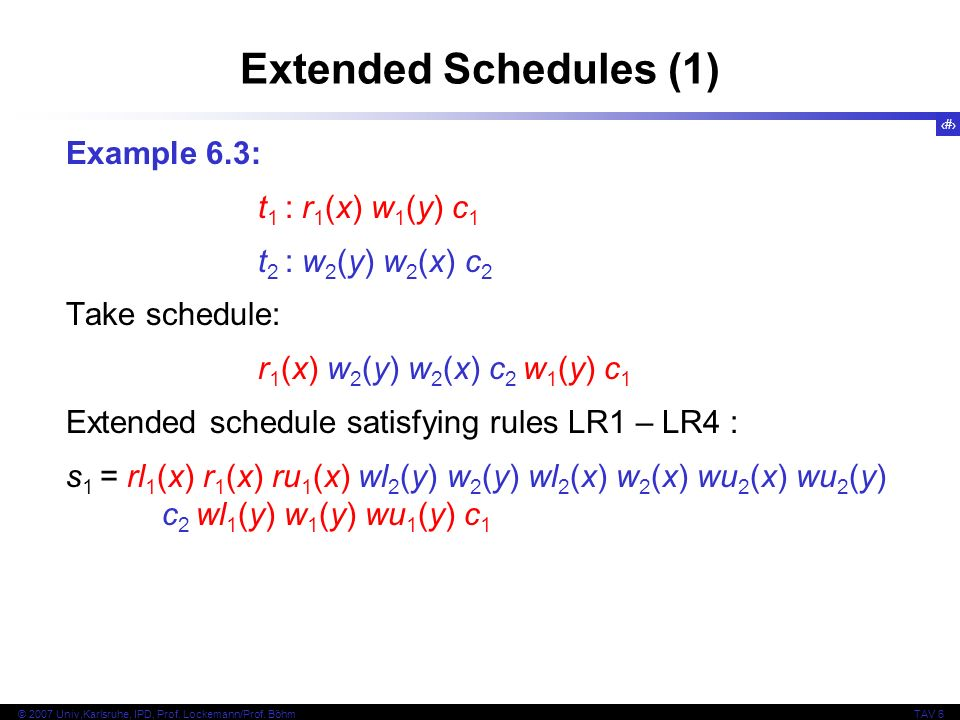 Extended Schedules (1) Example 6.3: t1 : r1(x) w1(y) c1
