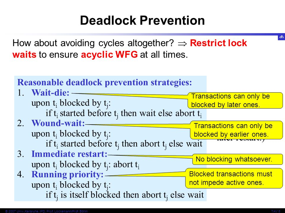 Deadlock Prevention How about avoiding cycles altogether  Restrict lock waits to ensure acyclic WFG at all times.